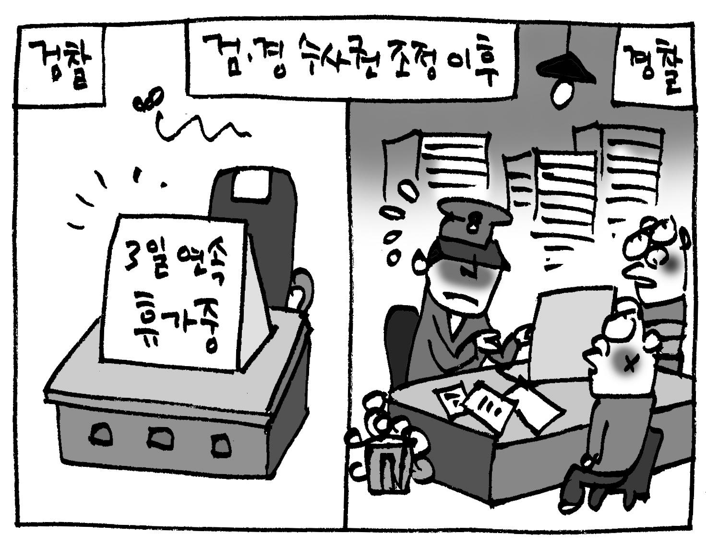 """검찰 """"3일 연속 휴가""""… 경찰 """"3일 연속 야근"""""""